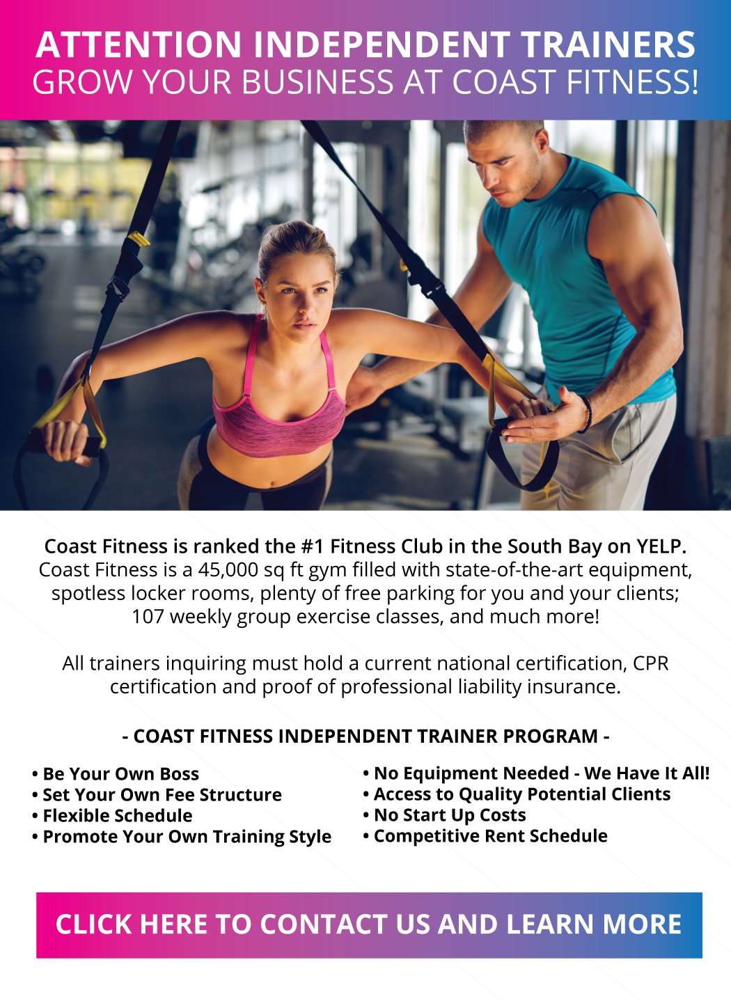 5c68a3a3e06 Personal Trainers Wanted